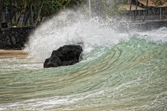 Kona harbor sea waves in big island stock image
