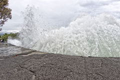 Kona harbor sea waves in big island Royalty Free Stock Photo