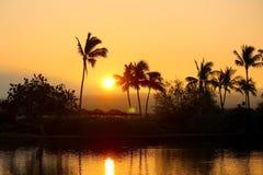 Kona Hawai sopra i bungalow del overwater dell'acqua Immagine Stock