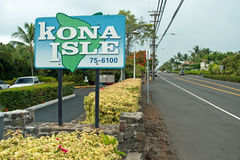 Kona Sign on Big Island Hawaii Stock Photo