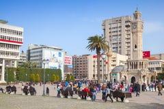 Konak Square, crowd of walking people. Izmir Royalty Free Stock Photo