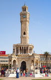 Konak Square with tourists walking near clock tower Royalty Free Stock Photo