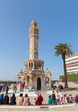 Konak Square with tourists walking near clock tower Royalty Free Stock Photography