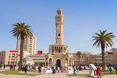 Konak Square with tourists walking near clock tower Royalty Free Stock Photos