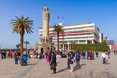 Konak Square with tourists walking near clock tower Stock Images