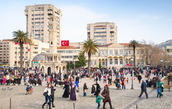 Konak Square with walking people, Izmit, Turkey Stock Image
