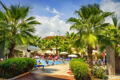Konakli, Turkey -  August 18, 2017: Territory of tropical resort hotel on sunny summer day. Vacation  in turkish resorts Royalty Free Stock Images