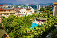 Konakli, Turkey -  August 18, 2017: Tropical resort hotels aerial view in summer sunny day. Holidays and vacation in relax  hotel. Stock Images