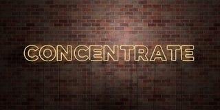 KONCENTRAT - fluorescencyjny Neonowej tubki znak na brickwork - Frontowy widok - 3D odpłacający się królewskość bezpłatny akcyjny ilustracja wektor