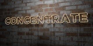 KONCENTRAT - Rozjarzony Neonowy znak na kamieniarki ścianie - 3D odpłacająca się królewskości bezpłatna akcyjna ilustracja ilustracja wektor