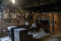 Koncentrationsläger Auschwitz Birkenau KZ Polen för gaskammare Arkivfoto
