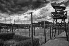 Koncentrationsläger Vojna är en utomhus- musem nära Pribram, Tjeckien, var van vid, är fördröjde fångar av tillståndet i commen arkivfoton
