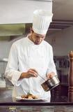 Koncentrerad manlig kock som garnerar mat i kök arkivbild
