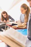 Koncentrerade flickor som lär med mottaglighet royaltyfria bilder
