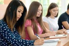 Koncentrerade flickor som studerar i universitetet som prepearing för examina Arkivfoto