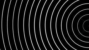 Koncentriska vita semirings som är rörande på svart bakgrund royaltyfri illustrationer