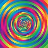 Koncentrycznej kolorowej spirali w przypadkowi okręgi Abstrakcjonistyczna kurenda p ilustracja wektor