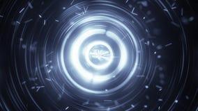 Koncentryczni okręgi i cząsteczki abstrakcjonistyczny futurystyczny tło royalty ilustracja