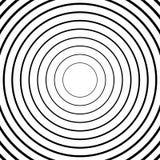 Koncentryczni okręgi, promieniowi linia wzory Monochromatyczny abstrakt royalty ilustracja