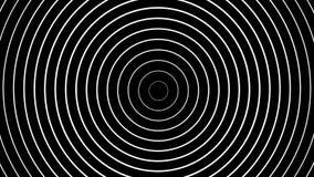 Koncentryczny biel dzwoni poruszającego na czarnym tle royalty ilustracja