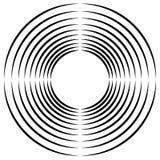 Koncentryczny, promieniowy okrąg kurendy element, Abstrakcjonistyczny czarny i royalty ilustracja