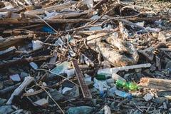 koncepcja ekologicznego Ekologia problemy planety ziemia Banialuki w miejscach odpoczynek morzem Klingeryt butelki w?r?d zdjęcia royalty free
