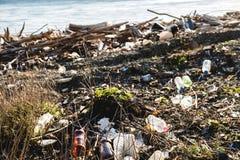 koncepcja ekologicznego Ekologia problemy planety ziemia Banialuki w miejscach odpoczynek morzem Klingeryt butelki w?r?d zdjęcie royalty free