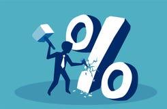 koncepcja finansowego Biznesowy mężczyzna łama puszka procentu znaka royalty ilustracja