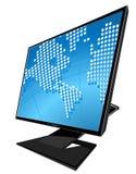 koncepcja globe lcd mapy świata monitor szkło Obrazy Royalty Free