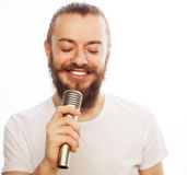 koncepcja go żywego muzyka wściekłość piosenkarz mikrofonu Obrazy Royalty Free
