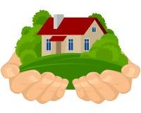 koncepcja nieruchomości w domu rąk real Obrazy Stock