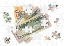 koncepcja ręce pieniądze układanki finansowej euro royalty ilustracja
