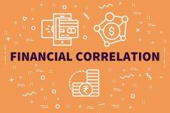 Konceptualna biznesowa ilustracja z słowa pieniężnym correl ilustracji