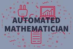 Konceptualna biznesowa ilustracja z słowami automatyzował mathem ilustracja wektor