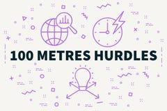 Konceptualna biznesowa ilustracja z słowami 100 metres hurdl Obrazy Stock
