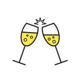 Konceptualna ilustracja iskrzaści szampańscy szkła C Zdjęcia Royalty Free