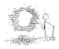 Konceptualna kreskówka Łama ścianę biznesmen Zdjęcia Royalty Free