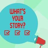 Konceptualna ręka pisze pokazywać Jaki S Twój Storyquestion Biznesowy fotografia tekst Łączy Komunikuje łączliwość ilustracji