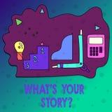 Konceptualna ręka pisze pokazywać Jaki S Twój Storyquestion Biznesowy fotografia tekst Łączy Komunikuje łączliwość royalty ilustracja