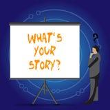 Konceptualna ręka pisze pokazywać Jaki S Twój Storyquestion Biznesowy fotografii pokazywać Łączy Komunikuje łączliwość ilustracji