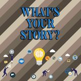 Konceptualna ręka pisze pokazywać Jaki S Twój Storyquestion Biznesowy fotografii pokazywać Łączy Komunikuje łączliwość związek ilustracja wektor