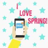 Konceptualna ręka pisze pokazywać Kocham wiosnę Biznesowa fotografia teksta afekcja dla sezonu rok udział dokąd jest tam royalty ilustracja
