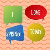 Konceptualna ręka pisze pokazywać Kocham wiosnę Biznesowa fotografia teksta afekcja dla sezonu rok udział dokąd jest tam ilustracji