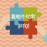 Konceptualna ręka pisze pokazywać korzyść kosztu współczynnika Biznesowa fotografia pokazuje związek między korzyściami i kosztam royalty ilustracja