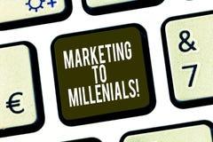 Konceptualna ręka pisze Millenials pokazywać Wprowadzać na rynek Biznesowy fotografii pokazywać Był społecznie łączącym internete obrazy royalty free