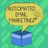 Konceptualna ręka pisze pokazywać Automatyzującego emaila marketing Biznesowa fotografia pokazuje emaila wysyłał automatycznie li royalty ilustracja