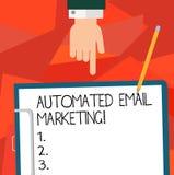 Konceptualna ręka pisze pokazywać Automatyzującego emaila marketing Biznesowa fotografia pokazuje emaila wysyłał automatycznie li ilustracji