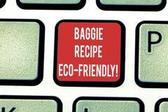 Konceptualna ręka pisze pokazywać Baggie przepis Eco Życzliwy Biznesowa fotografia pokazuje torbę na zakupy która może reused zdjęcia royalty free