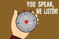 Konceptualna ręka pisze pokazywać Ciebie Mówi Nas Słucha Biznesowy fotografia tekst Komunikuje my twój informację i uczucia ilustracja wektor
