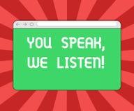 Konceptualna ręka pisze pokazywać Ciebie Mówi Nas Słucha Biznesowy fotografii pokazywać Komunikuje my twój uczucia i royalty ilustracja